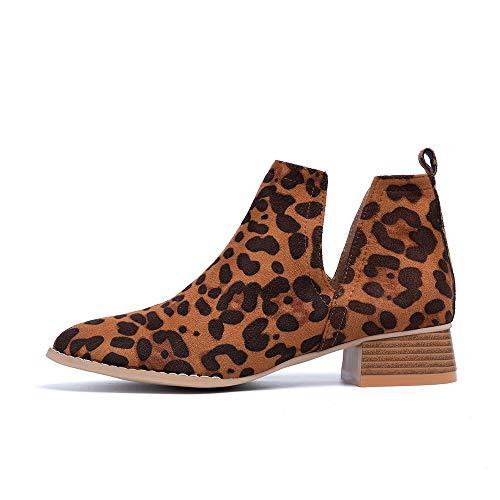 Botines Mujer Otoño Chelsea Botas Zapatos Tacón Ancho Slip On Cuero Sintético Comodos Fiesta 3.5cm Leopardo 39 EU