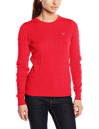 GANT Damen Slim Fit Pullover Stretch Cotton Cable Crew 480021, Gr. Medium (Herstellergröße: M), Rot (Watermelon Red 648) Stretch-damen Pullover