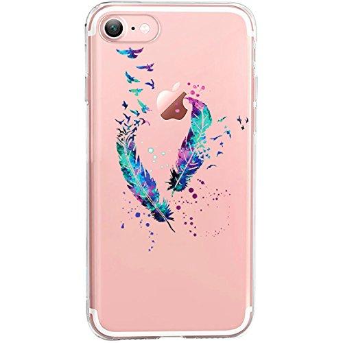GIRLSCASES® | Hülle kompatibel für iPhone 8/7 | Im Federn-Vögel Motiv Muster | in blau | Fashion Case transparente Schutzhülle aus Silikon
