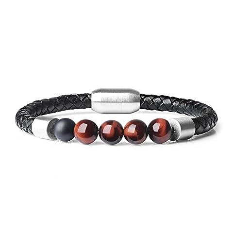 COAI® Leather Bracelet with Genuine Black Matte Onyx Tiger Eye Stones Beads 21.5cm