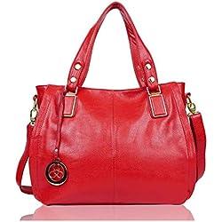 EGOGO Bolsos de Mujer, Bolso Cuero Bandolera Tote Bolso para Mujer Bolso de Compra E522-6 (Rojo)