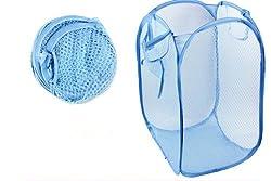 Nylon Mesh Foldable Laundry Washing Clothes Basket Bag (Sky Blue)