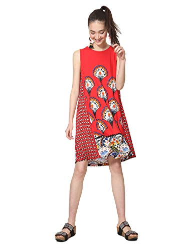 Desigual Dress Sleeveless Vento Woman Red, Robe Femme, Rouge (Rojo 3061), M
