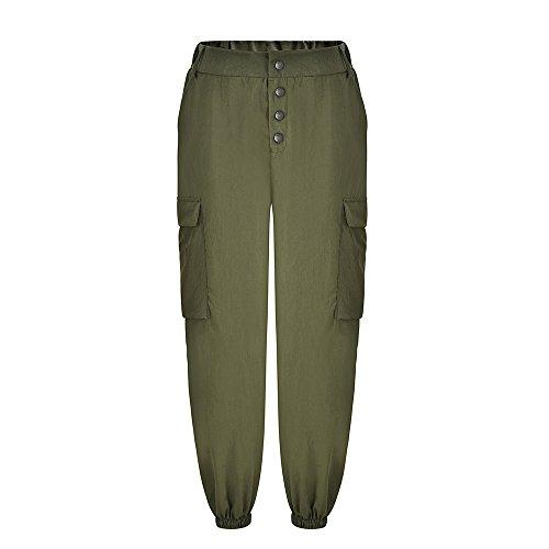 YWLINK Damen Einfarbig Hohe Taille Dekorativer Schnappverschluss Elastische Taille BeiläUfige Hosen GroßE Tasche Werkzeughosen(M,Armeegrün)