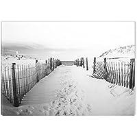 Startonight Cuadro sobre Lienzo en Blanco y Negro A la Playa, Impresion en Calidad Fotografica Enmarcado y Listo Para Colgar Diseño Moderno Decoración Formato Grande 60 x 90 CM