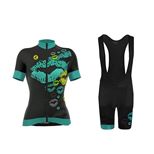 Uglyfrog Radtrikot Damen Kurzarm Fahrradbekleidung Set Outdoor Sports Radfahren Jersey + Radfahren Latzhose Shorts im Sommer (Jersey Radfahren Nike)