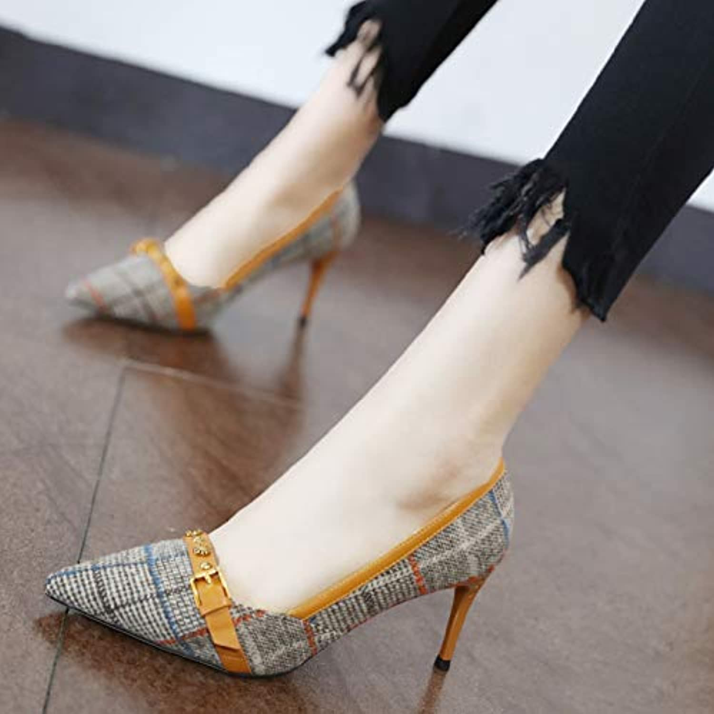 YMFIE El Temperamento Fino apuntó los Zapatos Simples de la Boca Baja Zapatos de Trabajo del Alto talón de la... -