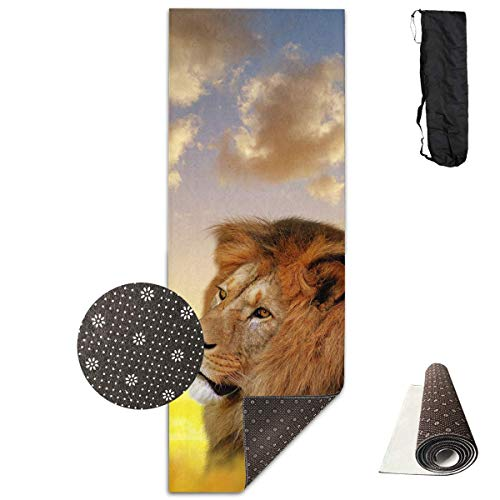 FGRYGF Lion Under The Sunset Sky Yoga Mat - Yoga Matte - Non-Slip Lining - Easy to Clean - Latex-Free - Lightweight and Durable - Long 180 Width 61cm