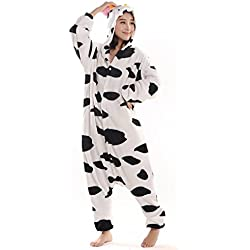 Adulte Pyjama Femme Homme Animal Costume Cosplay Combinaison Fleece Halloween Fête Vêtements de Nuit Onesie Soirée Carvanal Noël Vache M 159-168cm