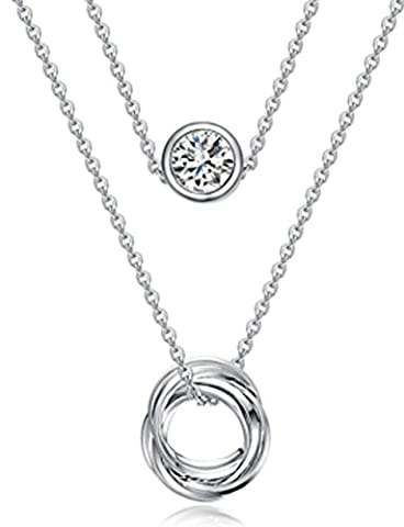 SaySure - Link Chain Slide Pendant White Gold Plated Two Layered