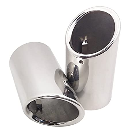 Wisamic 2 Pcs Stainless Steel Exhaust Tailpipe Muffler Tip Trim Ends End Pipe