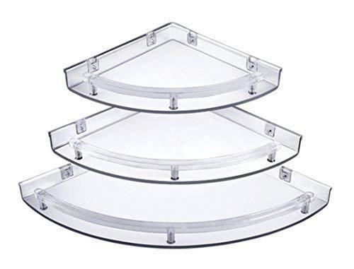 "TRENDY Bathroom Corner Shelf Unbreakable"" Premium Quality 3 Tiers White Corner Set Plastic Bathroom Corner Shelves | Shower Shelf | Kitchen Storage Corner Shelves Shower Caddy (Pack of 3)"