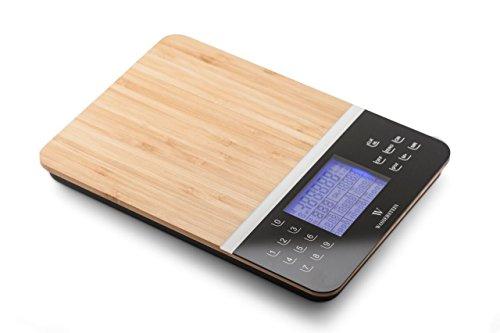 Digitale Nährwert-Analysewaage - Anzeige der Nährwerte - Genauer Lebensmittel- und Diät Küchenwaage von WASSERSTEIN (Bambus)