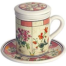 Spigarelli Ceramiche - Tazza tisana grande con piatto in ceramica beige decoro Botanico