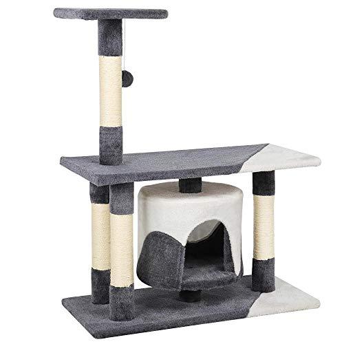 Yaheetech Kratzbaum Kletterbaum Spielbaum für Katzen mit Spielsisal, Höhe 90 cm