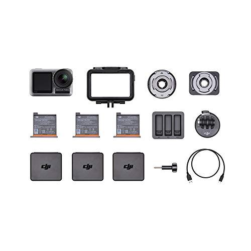 DJI Osmo Action Cam - Cámara digital con pantalla doble, Resistente al agua hasta 11 m, Estabilización integrada, Foto y Video en 4K HDR a 100 Mbps, Control de voz, Kit de accesorios incluido - Negro