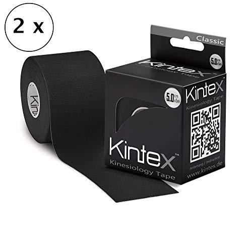Kintex 2 Rollen Kinesiologie Tape 5m x 5cm mit Farbwahl (Schwarz) 1,19€/m