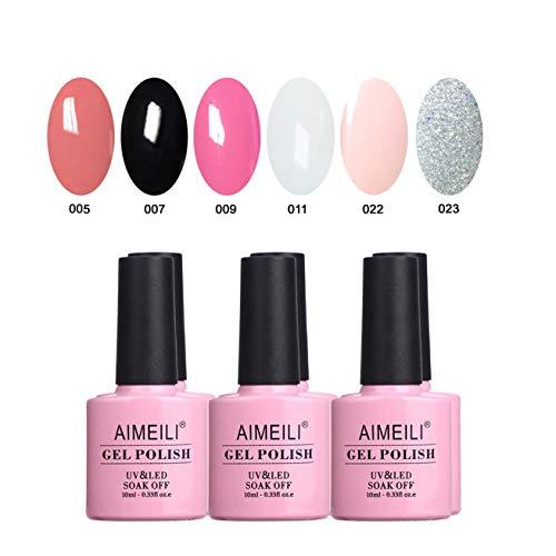 AIMEILI UV LED Gellack mehrfarbig ablösbarer Gel Nagellack Gel Nail Polish Set Kit - 6 x 10ml - Set Nummer 1 (Shellac Nagellack Silber)