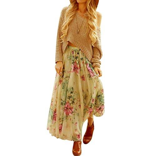 Chiffon Freizeit Röcke Damen, DoraMe Frauen Gefalteten Lange Maxi Röcke Boho Kleid Elastischen Bund Rock Floral Drucken Partei-Rock (Grün, Asien Größe L) (Neuheit-damen-rock)