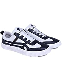 Shoe Swagger Men's White & Black Casual Canvas Sneaker / Sports Running Shoes - B07CHXLBZJ