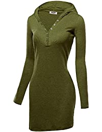 DJT Robe A Capuche Stretch Slim fit Pull-over Manches Longues Femme