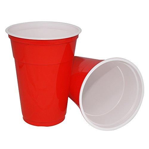 Gobelets américains de 455 ml-Lot de 100/rouge rubis, gobelets jetables en plastique pour les fêtes