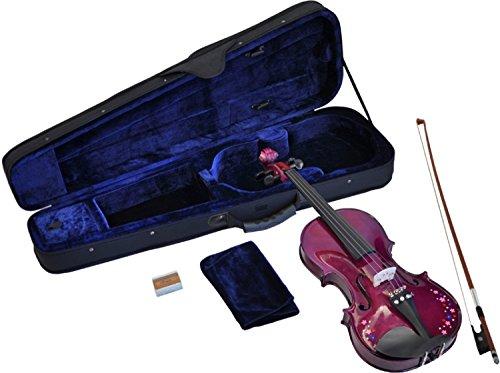 Steinbach 1/16 Geige im SET, lila mit Blumendekor, handgearbeitet