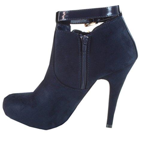 Macchia - Damen Ankle Boots Stiefeletten Stiletto Absatz Wildleder-Look Blau