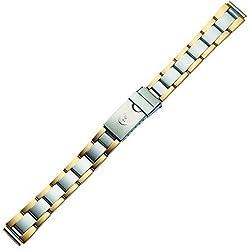 Uhrenarmband 12mm Edelstahl - Metall Ersatzarmband - bicolor, silber / gold - Marburger Classic Line für Damen Uhren - inkl. Wechselanstöße 14mm & 16mm - Marburger Uhrenarmbänder seit 1945