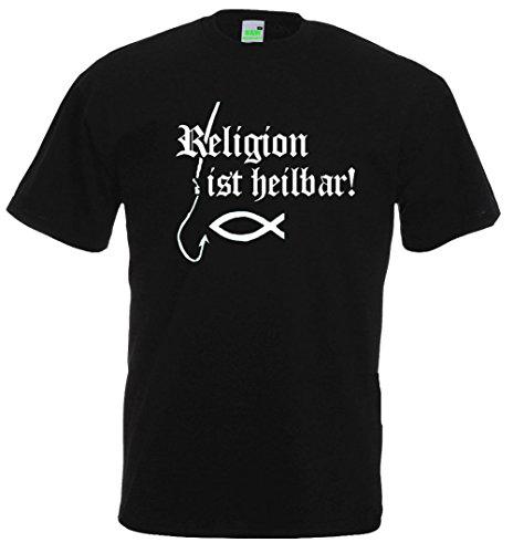 Religion ist heilbar   T-Shirt   Schwarz   Größe XL