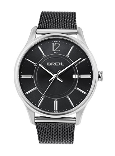 BREIL - Reloj para Hombre Contempo - Esfera Negra - Caja de Acero 40.5 mm - Pulsera de Acero Negro - Movimiento de Cuarzo