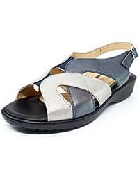 Sandalia mujer marca DOCTOR CUTILLAS en piel disponibles en color azul/plata y bronce/beige, cierre hebilla - 33855 - 97 - 102