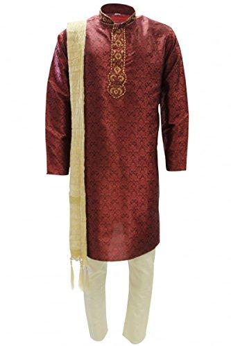 MKP9016 Rot und Gold Herren Kurta Pyjama Indian Suit Bollywood Sherwani (Chest 42 inches)