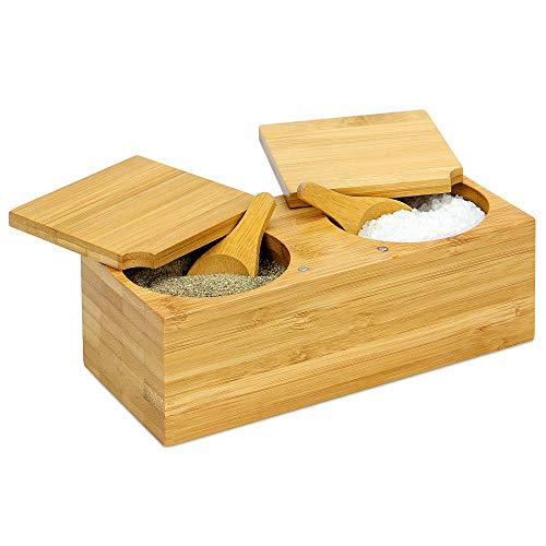 Caja de sal y pimienta de especias de bambú | Olla magnética con bisagras incluye 2 cucharas | Cerdo de sal de madera seccionado en 2 partes para hierbas y especias | M&W