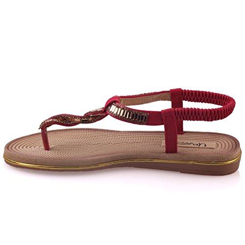 Unze Sandales plates Décoré Womens de Mayea ' Rouge