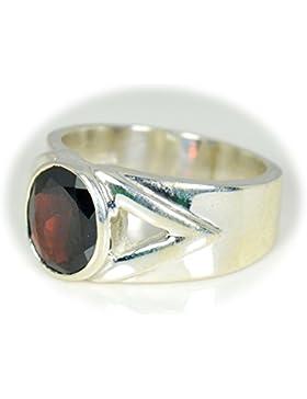 caratyogi Oval Form Stone rot Granat Ring Sterling Silber Gr. Fernmeldeleitung für Herren