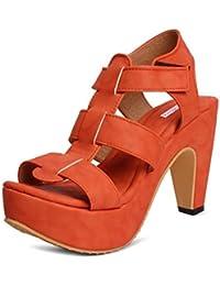 Meriggiare Women Synthetic Orange Heels