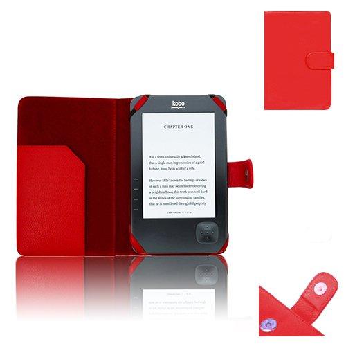 Xtra-Funky Esclusivo: Custodia Pelle Tipo Portafoglio per eReader whsmith' S e-reader Kobo Wi-Fi Wireless modello N647--Rosso (Kobo Wi-Fi Wireless, Rosso)