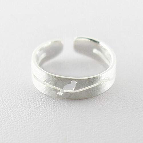 GMZDD Kleine Zeichnung Vogel 925 Sterling Silber Modeschmuck Eröffnung hypoallergen Persönlichkeit Ring EIN einzigartiger Ring kann Ihnen viel Glück bringen - Zeichnung Vögel