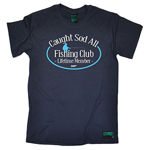 Drowning Worms - Men's Caught Sod All Fishing Club Lifetime Member Fish T Shirt Angling Tee Angler Rod Reel Top Bait Hook Carp Sport Line Birthday Gift Christmas Present - T-SHIRT