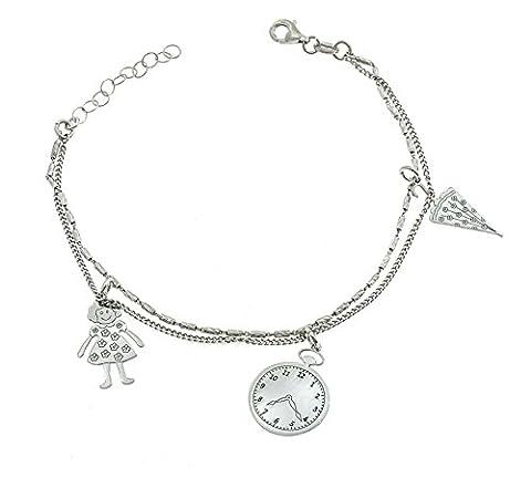 Armband Doppelstrang mit Anhänger Uhr, Regenschirm und Mädchen Sterling Silber 925hypoallergen vergoldet weiß, Gewicht gr4,6gr, Länge 18Reg 21cm