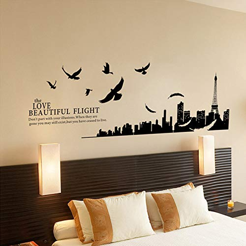 HFWYF City Silhouette Without White Edge PVC transparent Film Removable Wall Sticker 180x70cm -