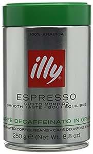 illy Espresso ganze Bohne, entcoffeiniert Dose mit silber / grünem Deckel, 250g
