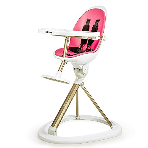 HOT MOM ® Tablefit High Chair with Removable Tray and Soft Insert, 360 Degree Rotation, Pink