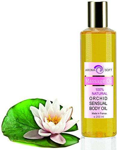Aceite de Masaje Sensual Flor de Loto 100% Natural - Relajación y Después del baño 200 ml - made in France