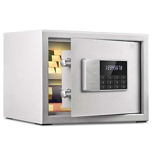 Chyuanhua Seguro Alta Seguridad Blanco Caja Fuerte 25cm Pequeño Mini Doble Pared Hogar Dobles Alertas...