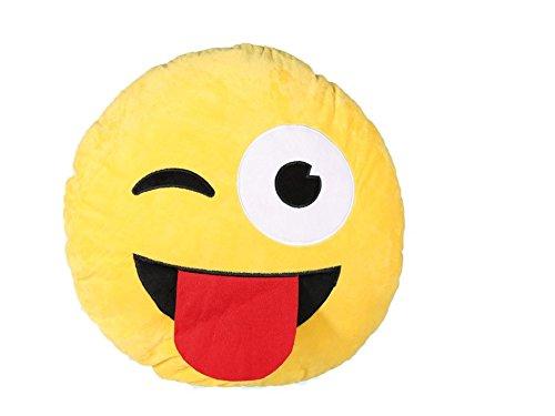 Cuscino peluche 50 cm pupazzo TONGUE EMOTION emoticon occhiolino sorriso