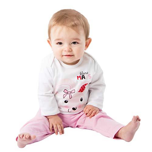 Weiße Kinder-schlafanzug (Baby - Mädchen Schlafanzüge Kleine Maus, Weiß, 74/80)