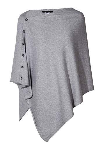 PULI Damen Strickschal mit Knopfleiste und Poncho-Decke, Umhang, Strickjacke, Einheitsgröße Gr. Einheitsgröße, grau