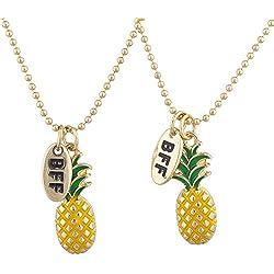 LUX accesorios dorado piña frutas BFF mejores amigos encanto collar Set 2pc